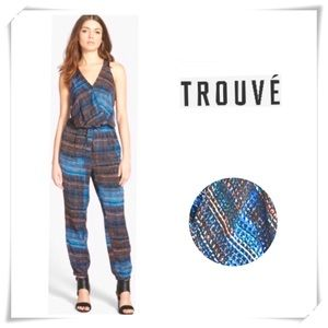 NWT TROUVE Graphic Print Jumpsuit Blue